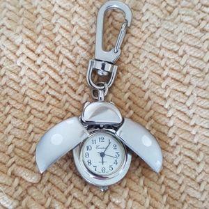 Petite Vintage Silvertone Lady Bug Watch Key Chain